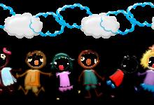 dessin d'une ribambelle d'enfants